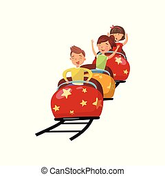 Happy people riding on roller coaster in amusement park cartoon vector Illustration