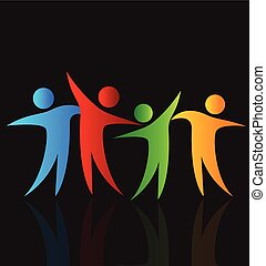 Happy people sharing time logo