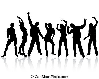 vector illustration of dancing people silhouettes