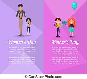 Happy People with Gifts on Mothers and Womens Day