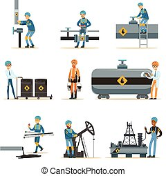 Happy People Working In Oil Industry Collection Of Cartoon...