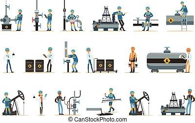 Happy People Working In Oil Industry Set Of Cartoon...