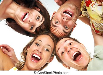 happy people - Young happy people. Isolated over white...