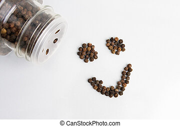 Happy Peppercorn - This image shows a smiley face composed...