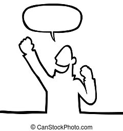 Black line art illustration of a person cheering.