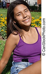 Happy Peruvian Teen Girl