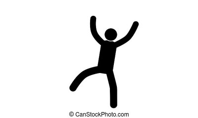 Happy Pictogram man dances with joy with his hands up. Loop...