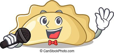 Happy pierogi singing on a with microphone. Vector illustration