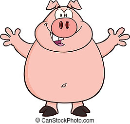 Happy Pig Character - Happy Pig Cartoon Mascot Character...
