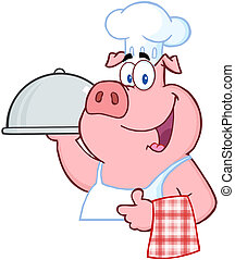 Chef Holding A Platter Sign - Happy Pig Chef Holding A...