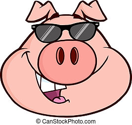 Happy Pig Head Cartoon Mascot Character. Illustration...