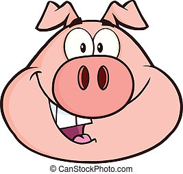 Happy Pig Head Character - Happy Pig Head Cartoon Mascot...