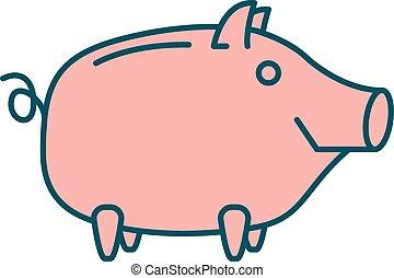 Happy Piggy bank or money box symbol. Thin line linear...