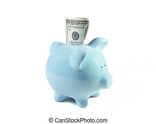Happy Piggy Bank - U.S. one hundred dollar bill stuck...