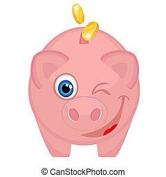 Happy piggy bank with coins winking with one eye