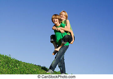 happy piggyback summer kids