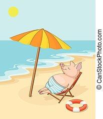 Happy piglet on the beach