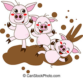 Happy Pigs - Three funny pig cartoon characters having fun...