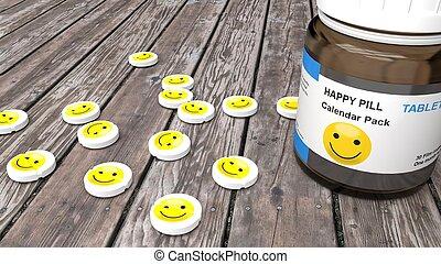 Happy pills, sad mood treatment monthly pack