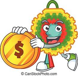 happy pinata cartoon character with gold coin