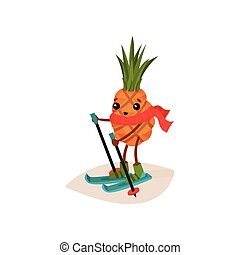 Happy pineapple on skis. Cartoon character of tropical fruit in red scarf. Physical activity. Skiing sport. Flat vector icon