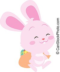 Happy pink bunny easter theme