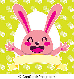 Happy Pink Bunny - Happy pink Easter bunny cartoon character...