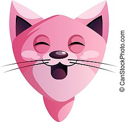 Happy pink cartoon cat vector illustration on white background