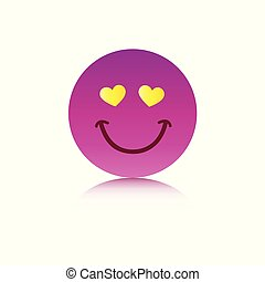 happy pink emoji face with hearts as eyes on white background