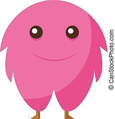 Happy pink monster, illustration, vector on white background.