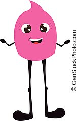 Happy pink monster with long  black legs  vector illustration on white background