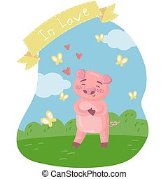 Happy pink piggy character on the green lawn. Funny pig in love in cartoon style, vector illustration, design element for poster or banner