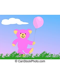 happy pink teddy bear holding a pink balloon
