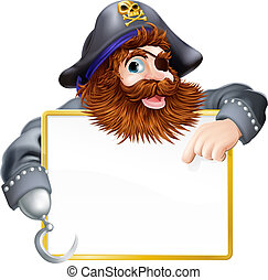 A happy pirate pointing at sign with a gold border or frame