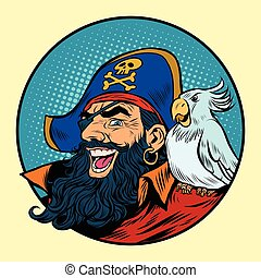 Happy pirate with a parrot on his shoulder, pop art retro...