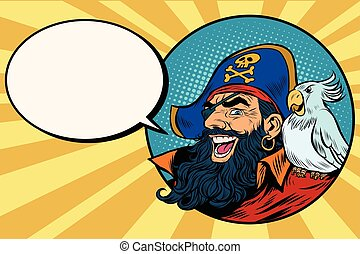 happy pirate with a parrot, pop art comic bubble