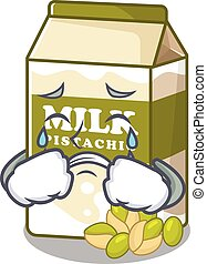 Happy pistachio milk character having a gift box