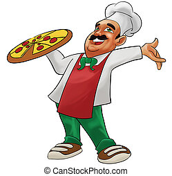 happy pizzaiolo - a pizzaiolo carrying a big delicious pizza