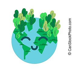 Happy planet earth emoticon with green tree