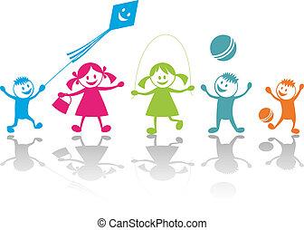 Happy playing children - Cheerful playing children. Vector ...
