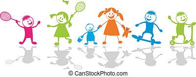Happy playing children.Sport - Cheerful playing...