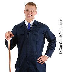 Happy plumber