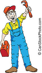 Happy Plumber - Cartoon of a happy plumber