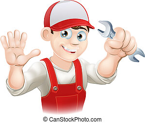 Happy plumber or mechanic with span