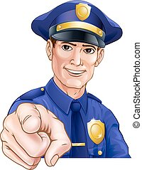 Happy Pointing Police Man