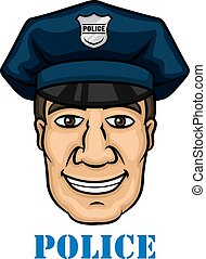 Happy police officer in blue uniform