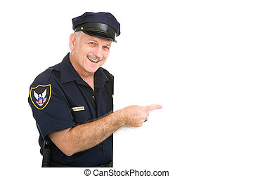 Happy Policeman Pointing
