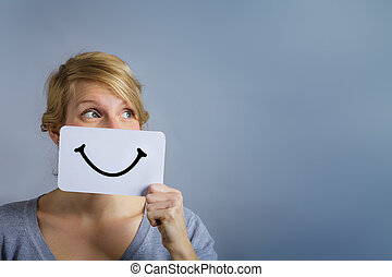 Happy Portrait of Someone Holding a Smiling Mood Board -...