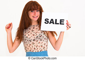 happy portrait young woman with board sale
