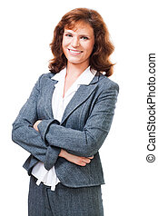 Happy positive business woman isolated on white in her 40s